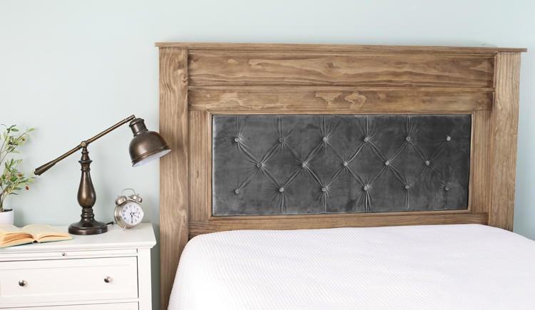 DIY upholstered headboard idea with wood frame