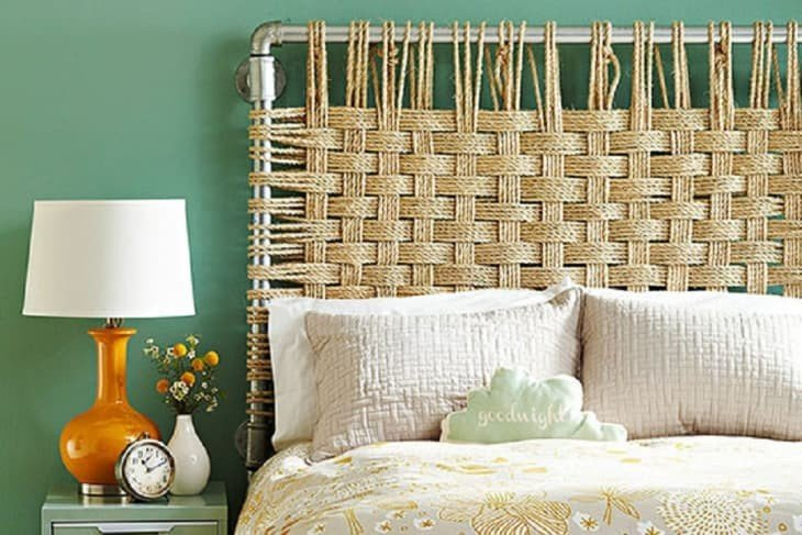 Inexpensive woven rope headboard