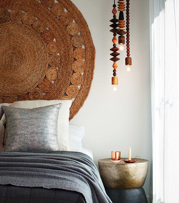 Woven hemp rug headboard
