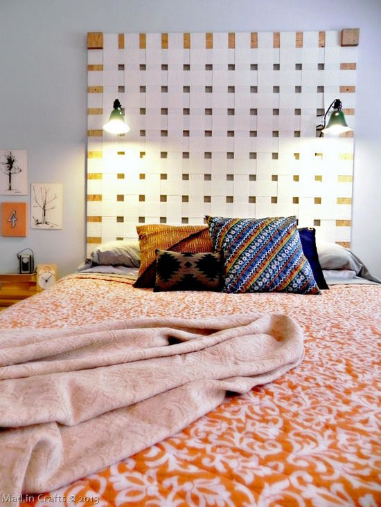 large checkered DIY headboard with built in lamps