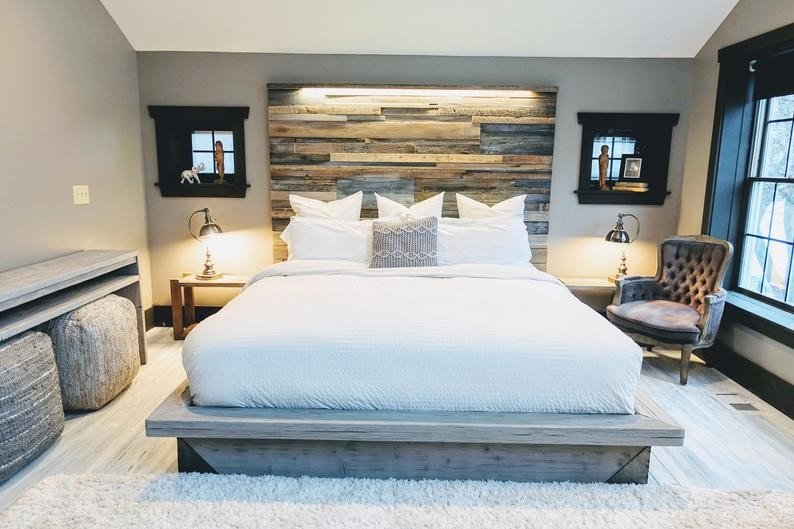 farmhouse patched wood headboard