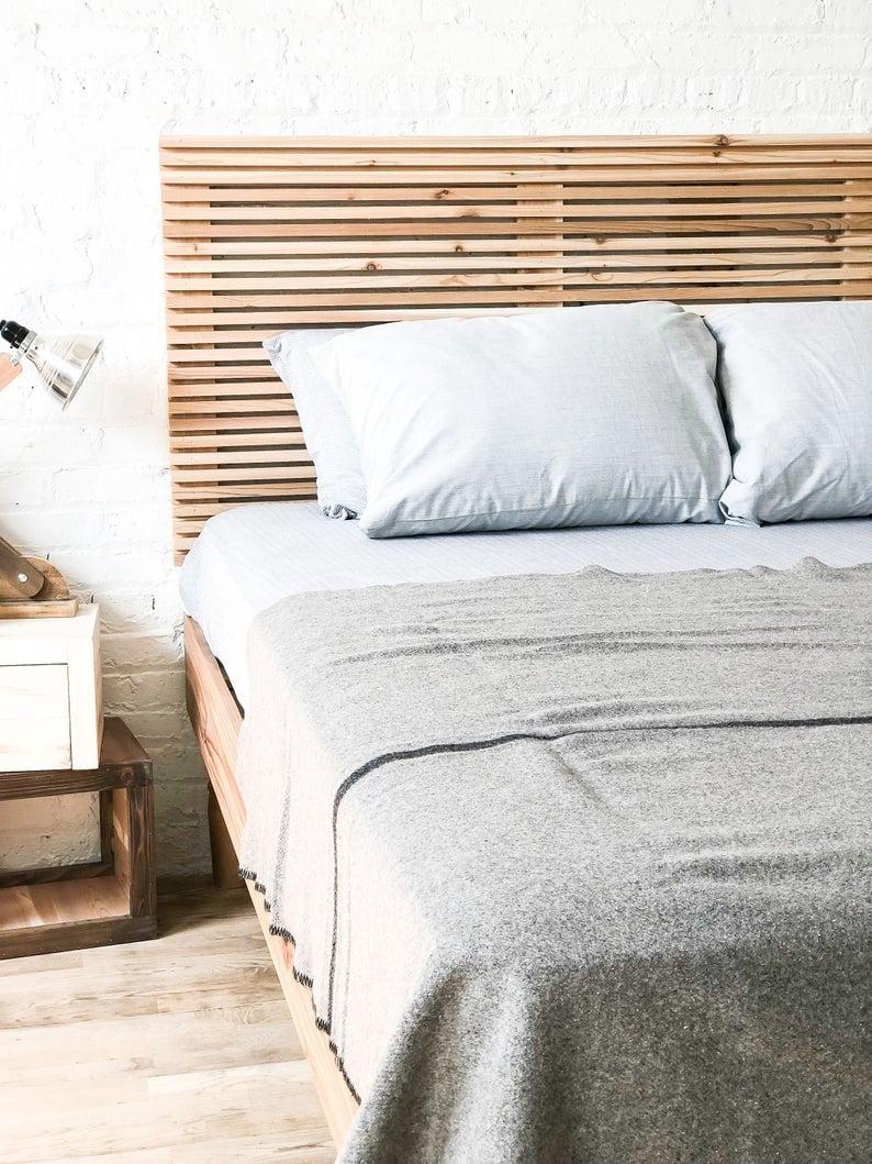 solid wood slatted bedframe and headboard