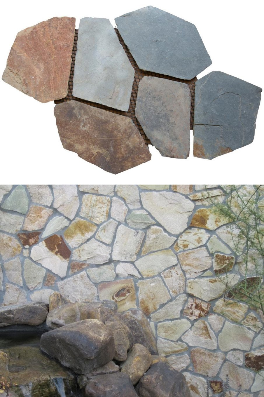 Mesh style Flagstone Patio designs using sections