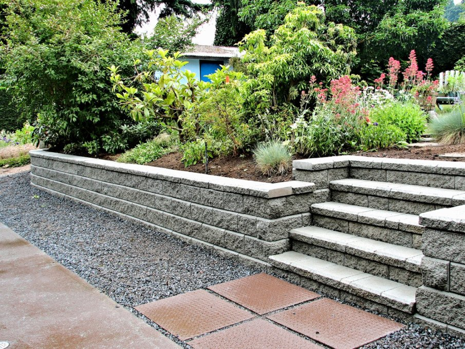 Landscaped garden with retaining wall with steps