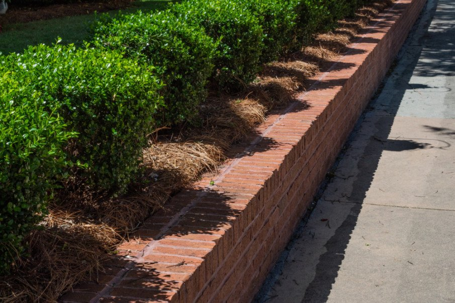 Front yard retaining wall constructed of double brick - clasic red