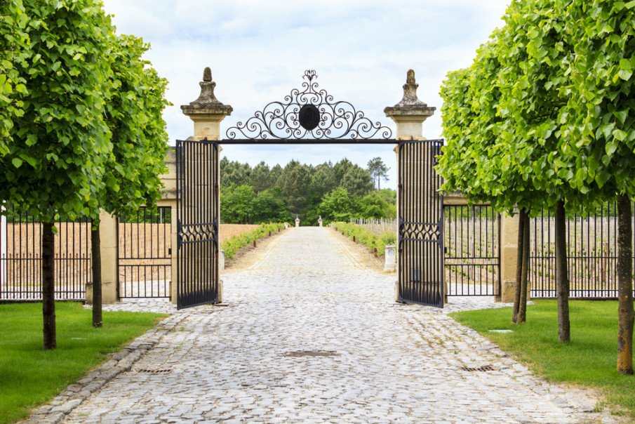 Luxury entrance wrought iron gate idea
