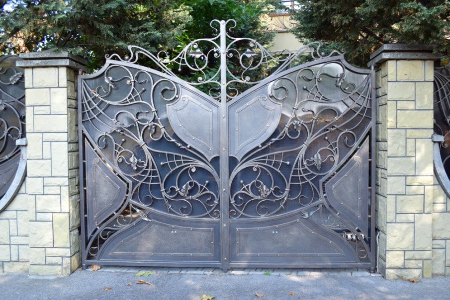 Wrought iron gate with privacy screen