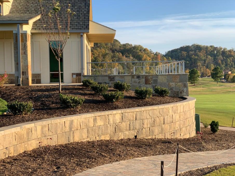 Concrete block ideas for sloped backyard