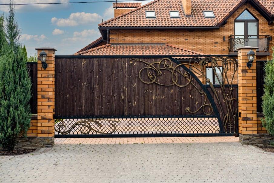 Wrought iron rolling gate idea