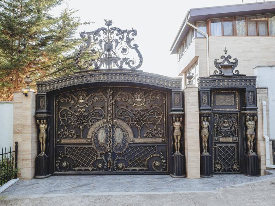Oversized wrought iron gates