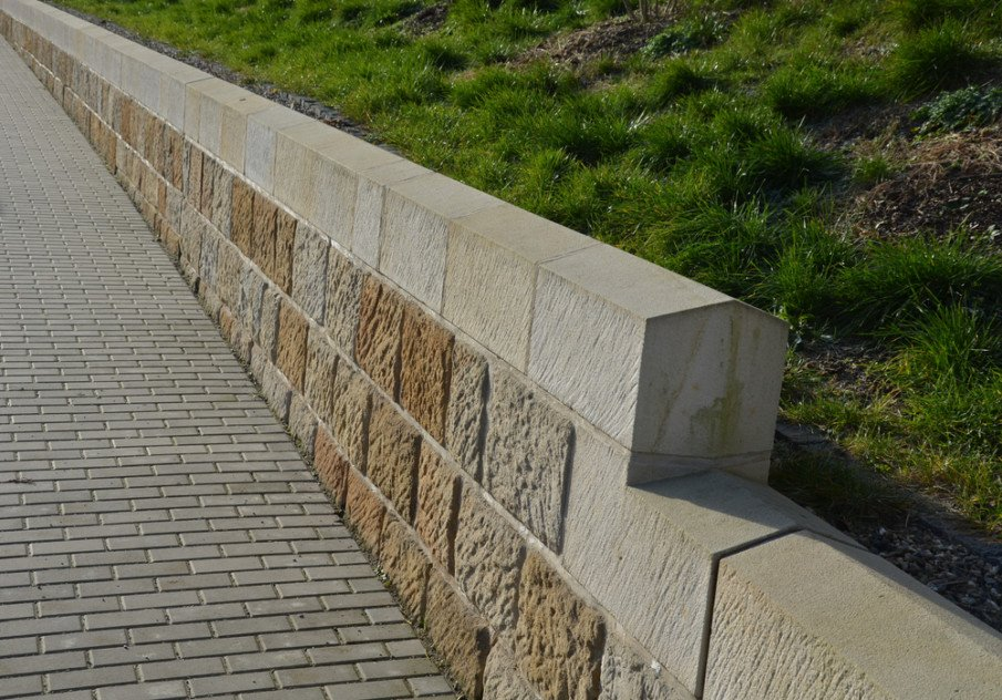 Ideas for steep slopes - cemetery retaining wall made of sandstone