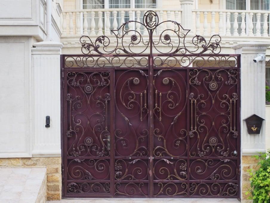 Burgundy color iron home entrance gate