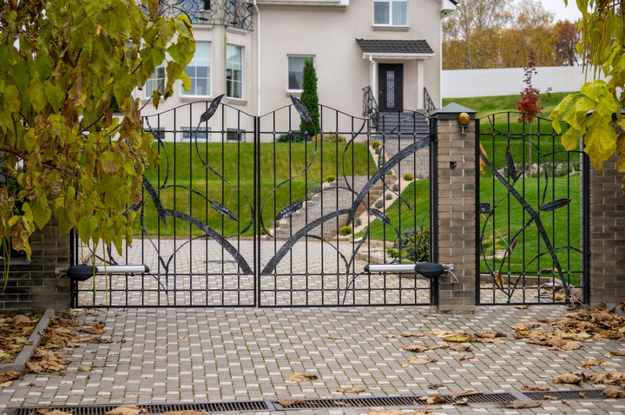 Elegant driveway gate and a fence wicket