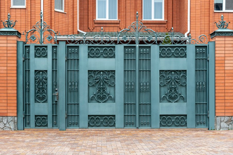 Unusual color wrought iron gate