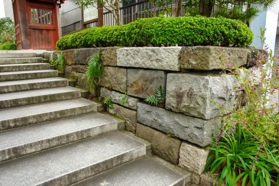 Sandsone wall with natural stone staircase