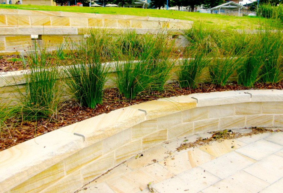 Hardscaping ideas - sandstone terraced retaining wall