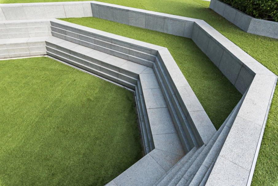 Sleek modern step-style concrete wall