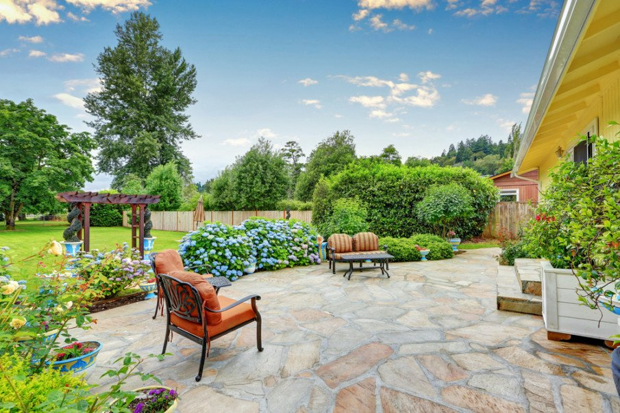 A charming flagstone patio for entertaining