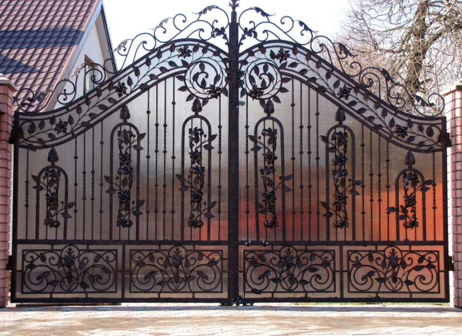 Wrought iron gate with privacy screen design