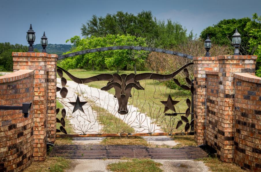 Decorative wrought iron driveway gates