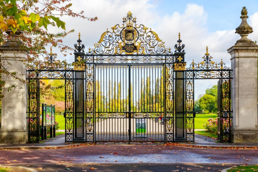A design idea combining wrought iron gates for fence and driveway