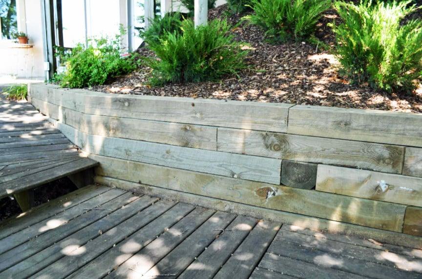 Treated wood retaining wall - low wall, horizontal orientation