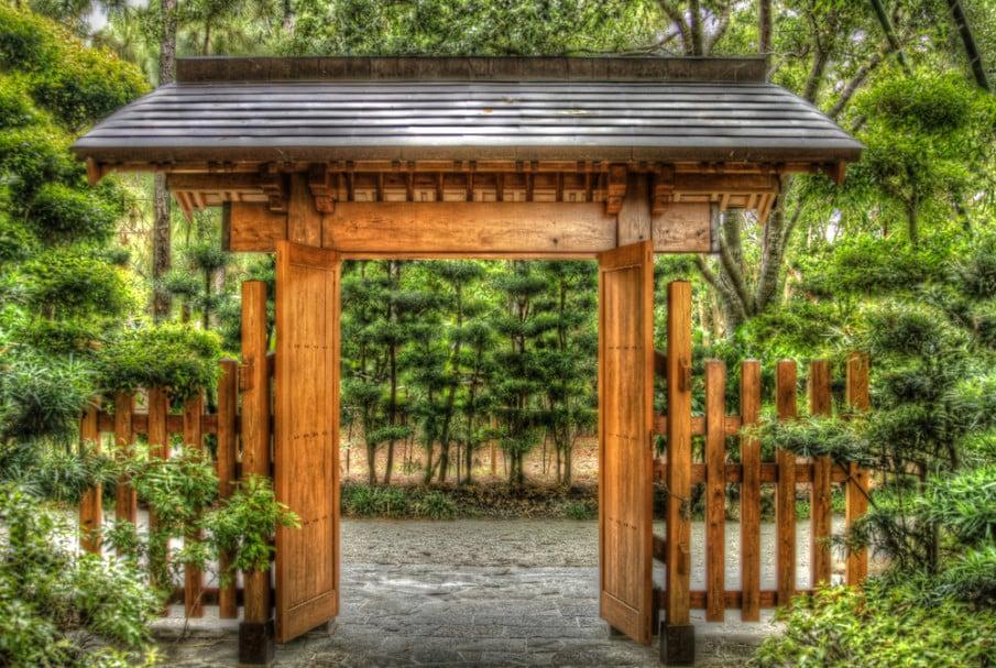 Cedar wood arbor with gate and pergola roof