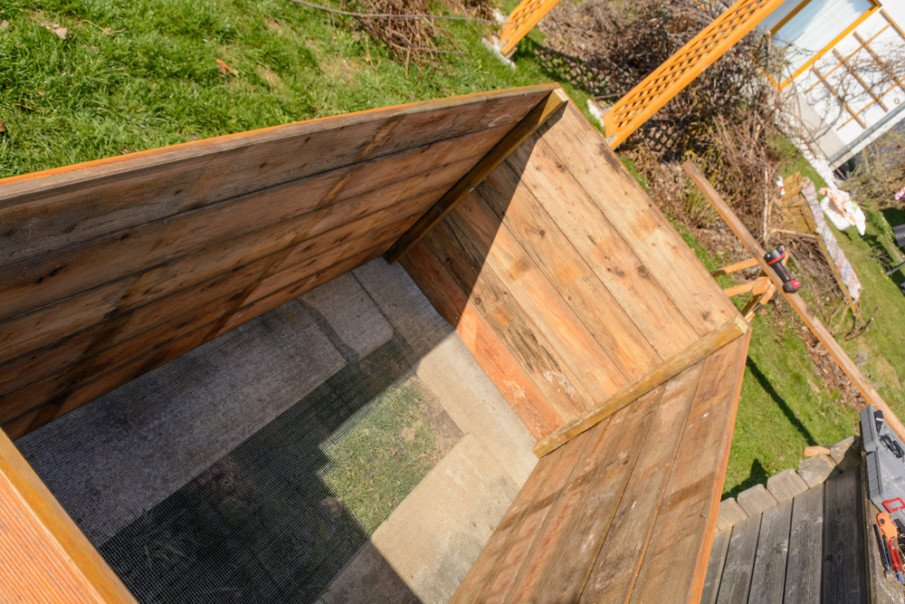 This is how a wooden raised garden bed looks inside