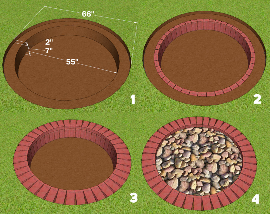 Large Round Brick Firepit Plan with dimensions