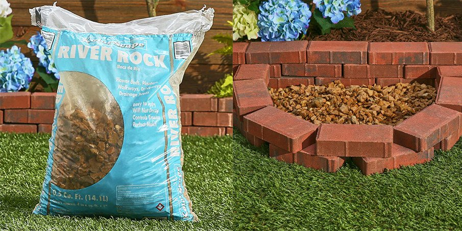 Fill your fire pit bottom with river rock pebbles