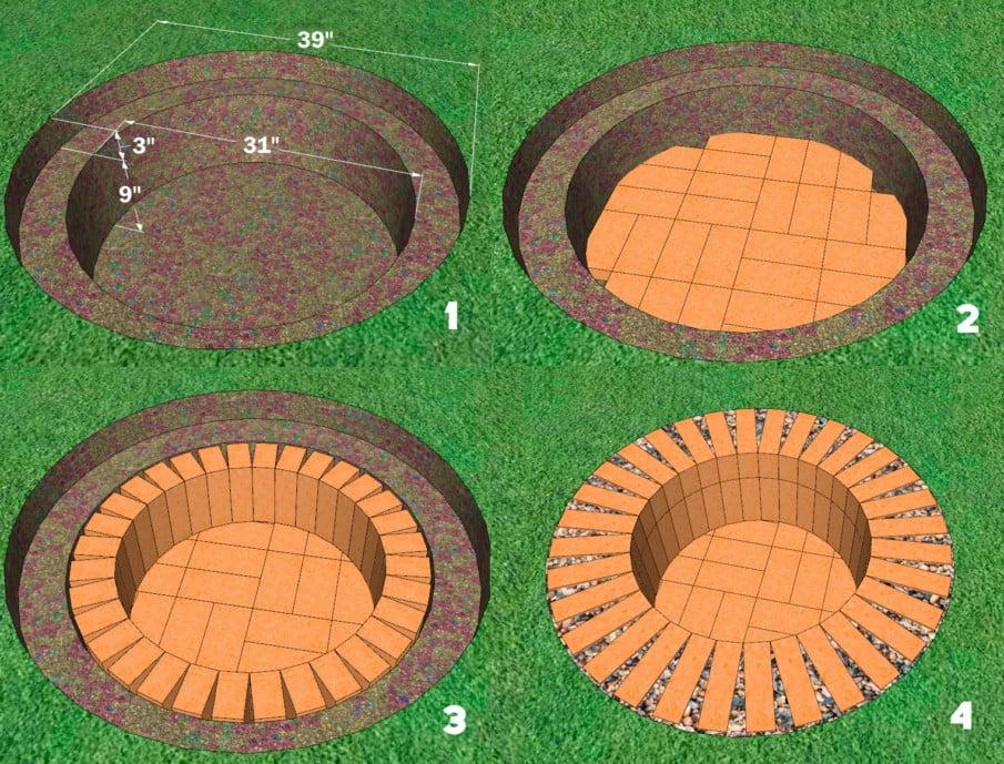 Round brick firepit plan