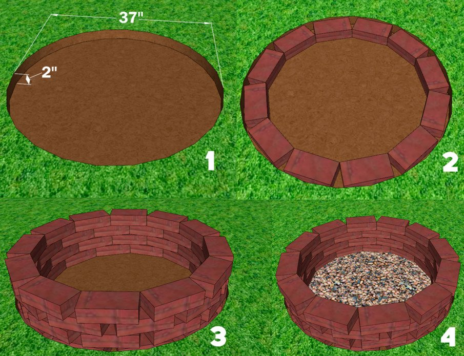 Cheap brick fire pit plan with dimensions